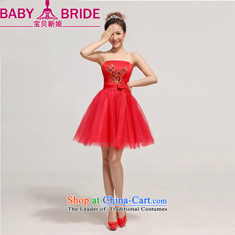The Bride Korean baby wedding dresses skirt Fashion brides small Evening Dress Short bridesmaid dresses, bows to wipe the chest marriage red?L