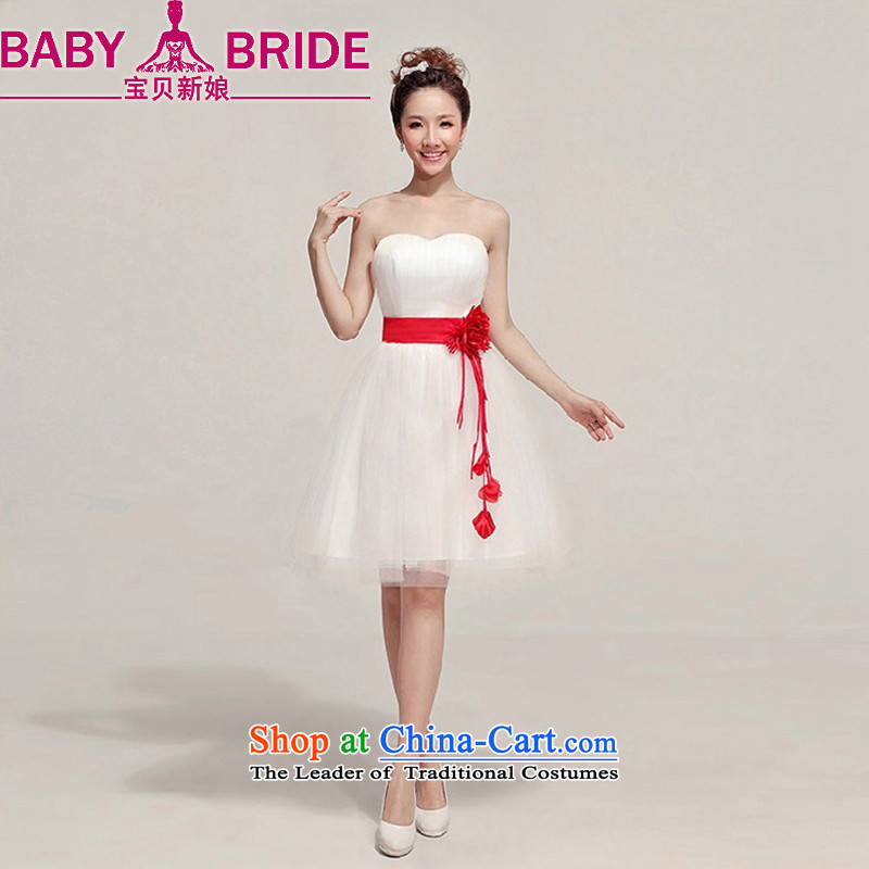Baby bride Dress Short, 2014 New wedding dresses bridesmaid dress short skirt Korean small dress princess skirt White?XL