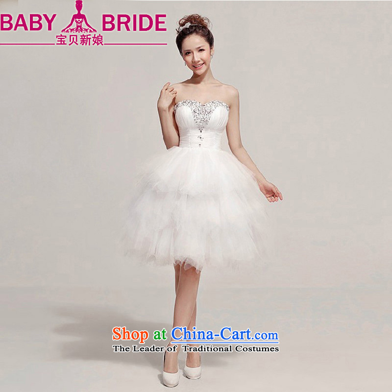 Baby bride 2014 Summer new bride wedding dress and diamond short of chest bridesmaid small dress White?XL