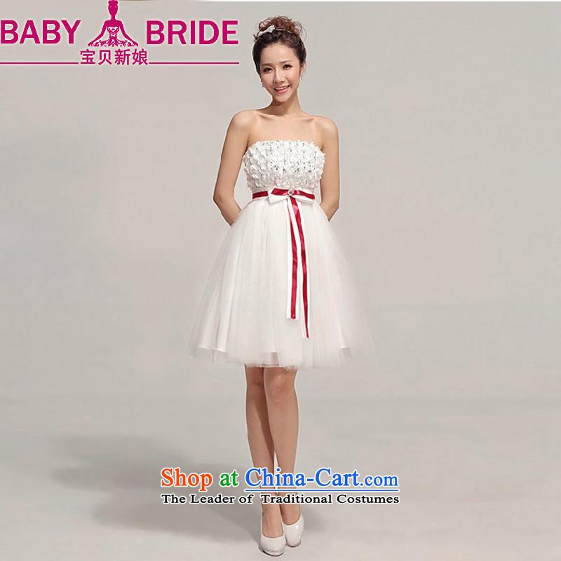 Baby bride bridesmaid short skirt and small dress chest short skirts bon bon skirt bridesmaid dress Korean skirt bridesmaid service Sister White�XL