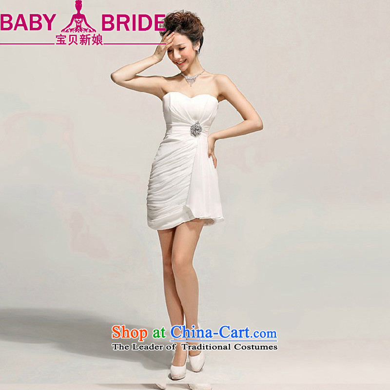 Baby bride Sau San Sin bows services evening dresses bridesmaid Dress Short of Princess small dress wiping the chest dresses Korean White�XXL