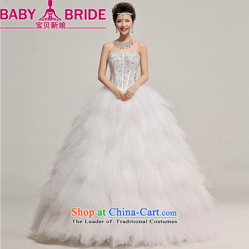 Baby bride winter wedding Korean wedding dress 2014 New Deluxe Diamond light V-Neck pregnant women wedding whiteS