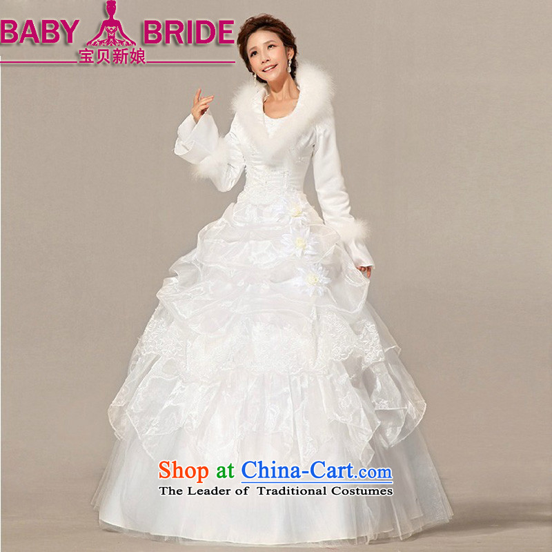 Baby bride wedding dresses new 2014 winter wedding with modern Korean gross long-sleeved plus cotton wedding word shoulder warm video thin wedding White?M