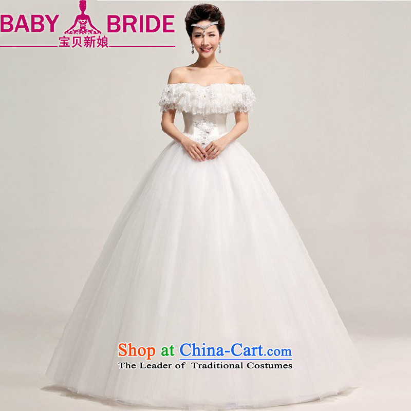 Baby bride wedding dresses Korean word bride straps wedding to align the shoulder larger wedding marriage wedding video thin White?XL