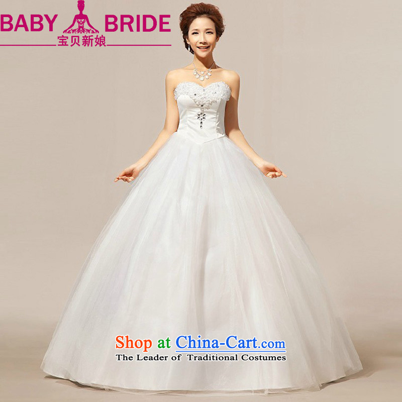 Baby bride new spring and fall 2014 outdoor fresh minimalistic anointed chest Korean video thin tether strap pearl given crystal wedding dresses white�L