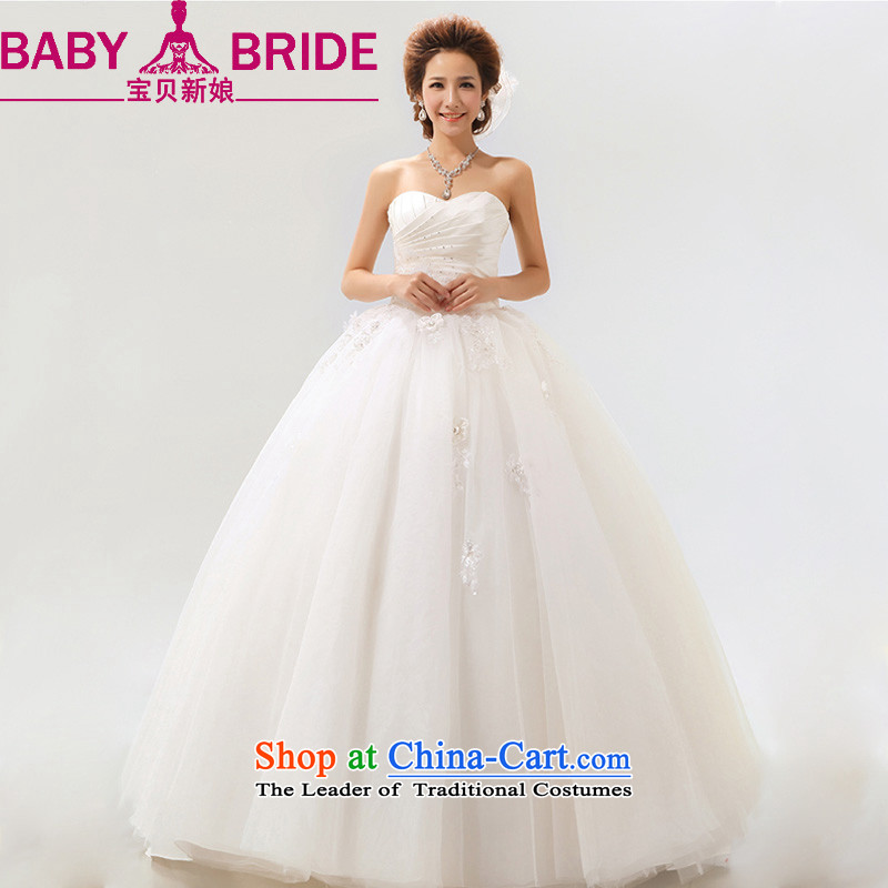 Baby bride Summer 2014 new stylish Sweet flowers Korean Won-marriages wedding dresses m White?XXL elegant