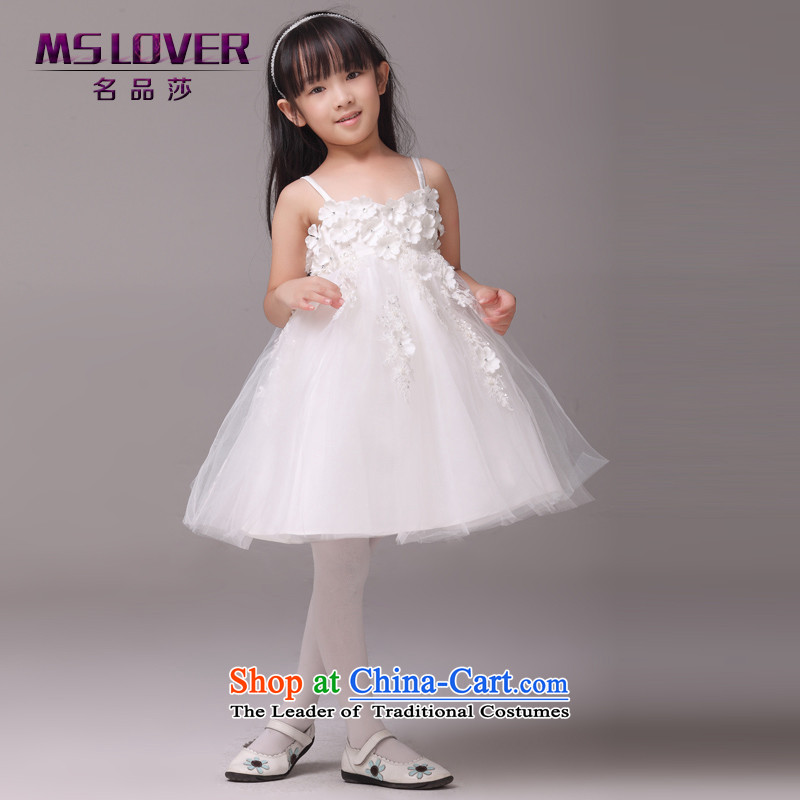 The lifting strap flowers mslover bon bon skirt girls princess skirt children dance performances to dress wedding dress Flower Girls dress 8803 m White 12 code (3-7 day shipping) scheduled