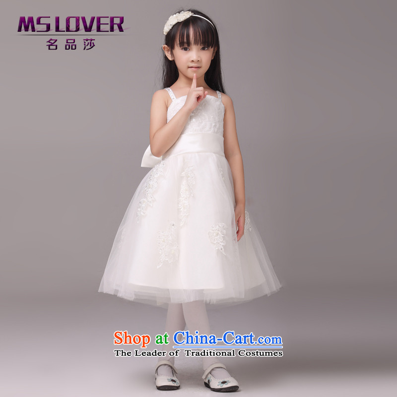 Mslover?bow tie strap with lace girls princess skirt children dance performances to dress wedding dress Flower Girls dress?8817?m White?12 code (3-7 day shipping) scheduled