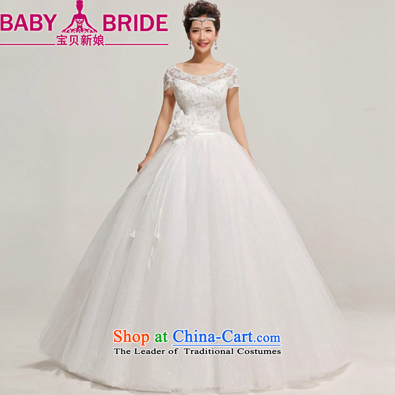 Baby bride package shoulder wedding dresses new 2014 engraving lace Korean word shoulder straps, princess retro white�L