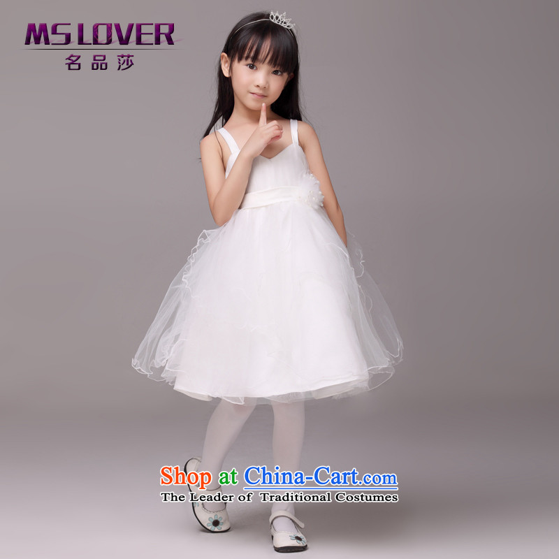 Mslover?minimalist straps bon bon skirt girls princess skirt children dance performances to dress wedding dress Flower Girls?8823?m?4 white dress code