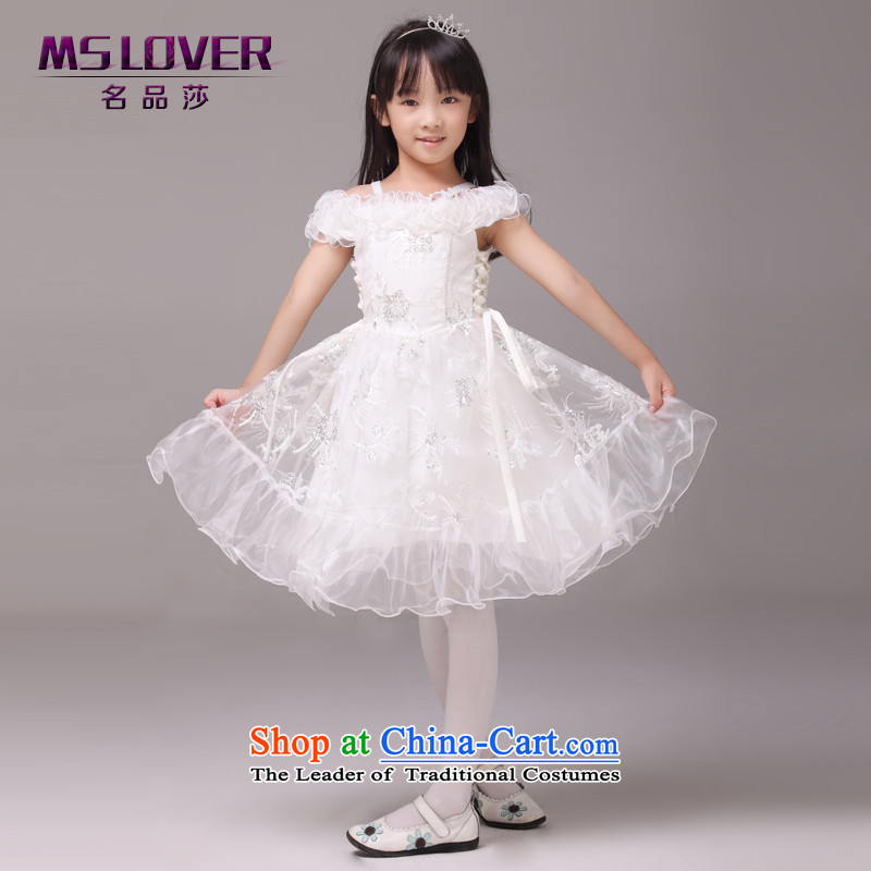 Retro word mslover palace shoulder girls princess skirt children dance performances to dress wedding dress Flower Girls 8826 m 8 white dress code