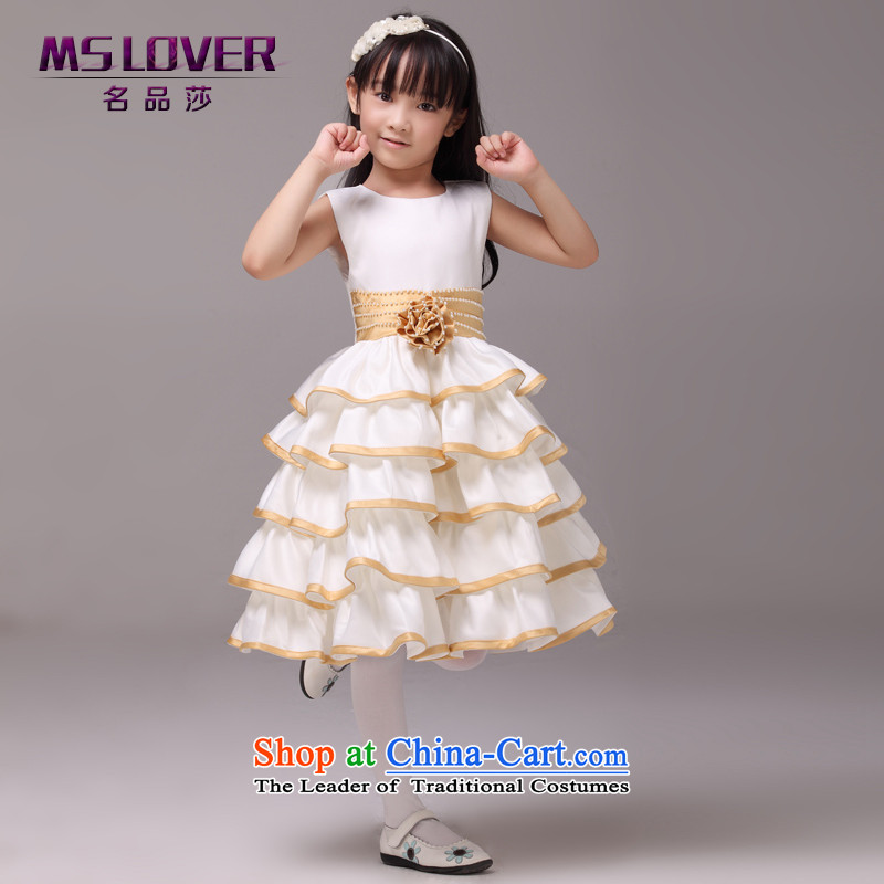 ?Sepia mslover sleeveless cake skirt girls princess skirt children dance performances to dress wedding dress Flower Girls dress?8830?Gold?2 code