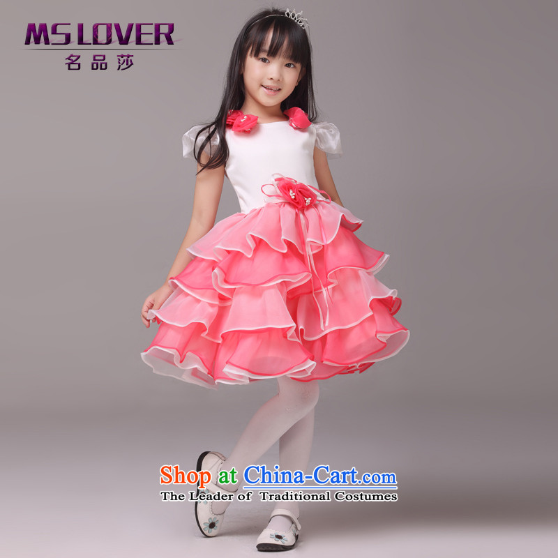 Mslover�bubble cuff flowers bon bon skirt girls princess skirt children dance performances to dress wedding dress Flower Girls dress�8831�watermelon Red�8