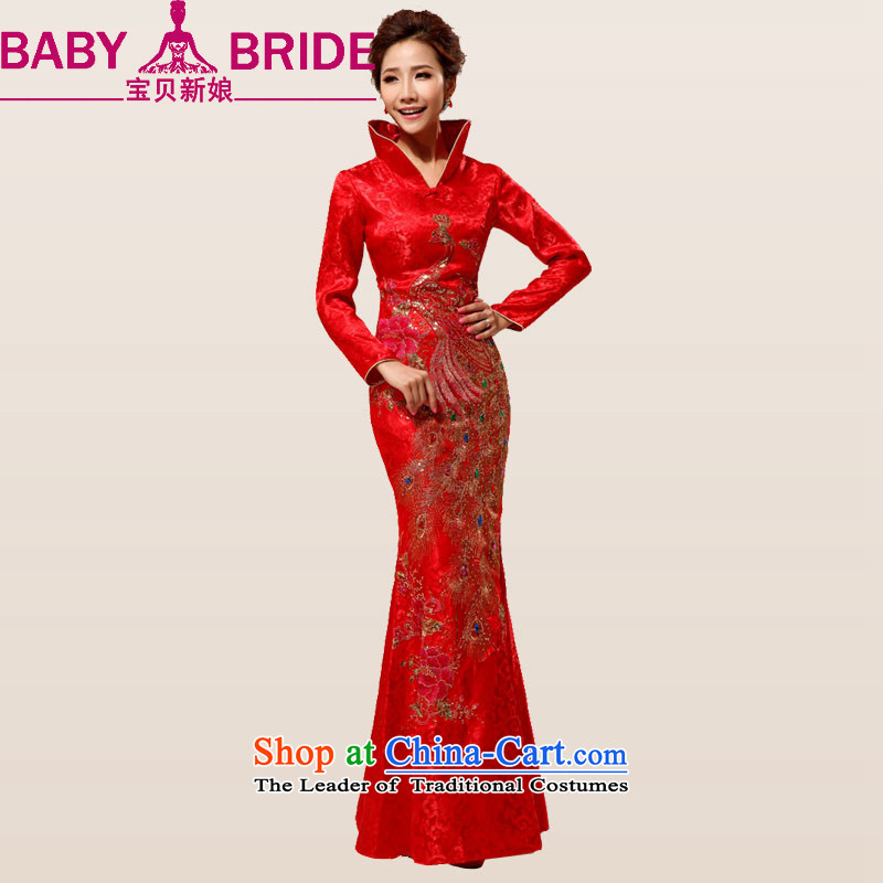 Baby bride China wind red phoenix embroidery on long drill and contemptuous of Mudan marriages wedding dresses cheongsam Red 2 feet 2 waist