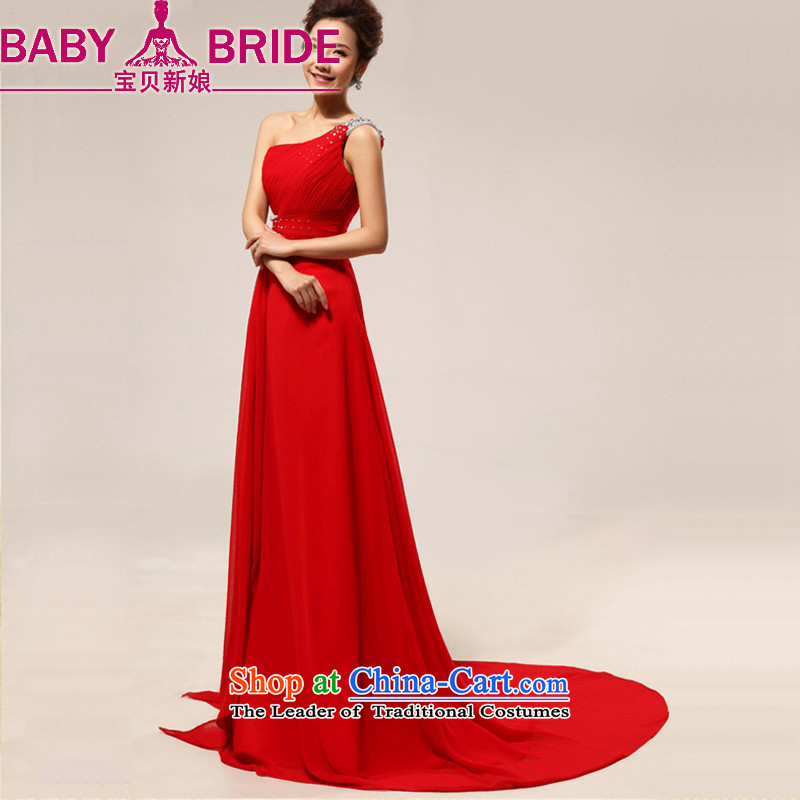 Baby bride bride red dress long marriage stylish shoulder small dress marriages bows to the small red tail bows services red S