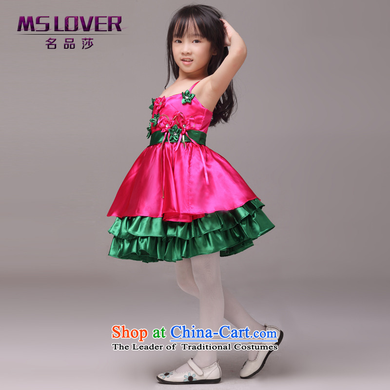 The lifting strap color mslover bon bon skirt girls princess skirt children dance performances to dress wedding dress Flower Girls dress in red 6 Code 8833