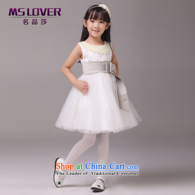 Upscale nail pearl mslover bon bon skirt girls princess skirt children dance performances to dress wedding dress Flower Girls dress  code 6 Silver 9095