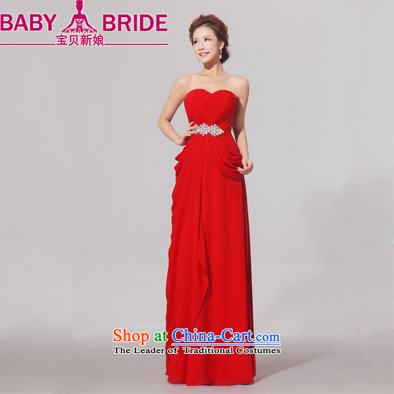 Baby large bride wedding dresses thick mm Red elegant evening dress thin graphics long bride bows services red�XL