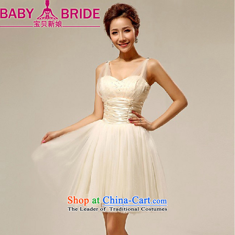 2014 new bride treasure shoulders bridesmaid dress lovely bon bon skirt short) Service dress bridesmaid sister skirt incense fashionable color�L