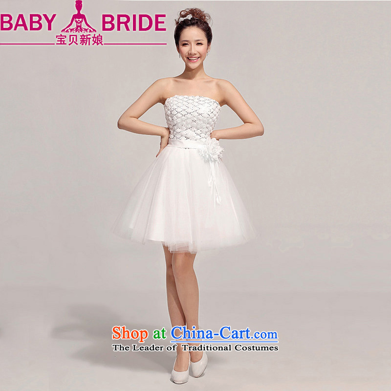 Baby bride bridesmaid short of small dress skirt the new bride 2014 wedding dress red bows dress, Sau San White?XL