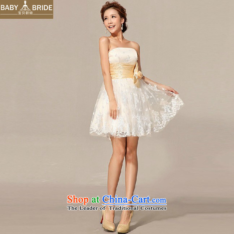 Baby bride wedding dresses new 2014 bridesmaid dress uniform Dress Short of bows small wedding dress booking m White?M