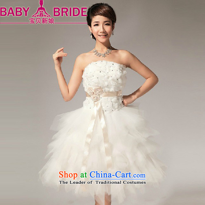 Baby wipe the new bride 2014 Chest Flower knee sister bridesmaid small dress short skirt LF112 sister mission dress white S