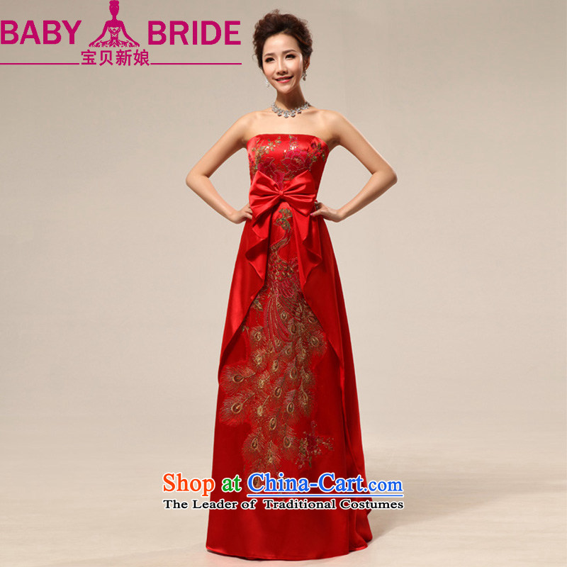 2014 new bride treasure China Wind China embroidery chinese red anointed chest marriages wedding dresses red XL