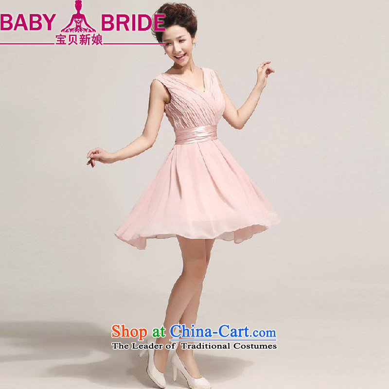 2014 new bride treasure dress short skirt bride bridesmaid services serving the princess cuff bows wedding dresses small short skirts meat pink?XXL