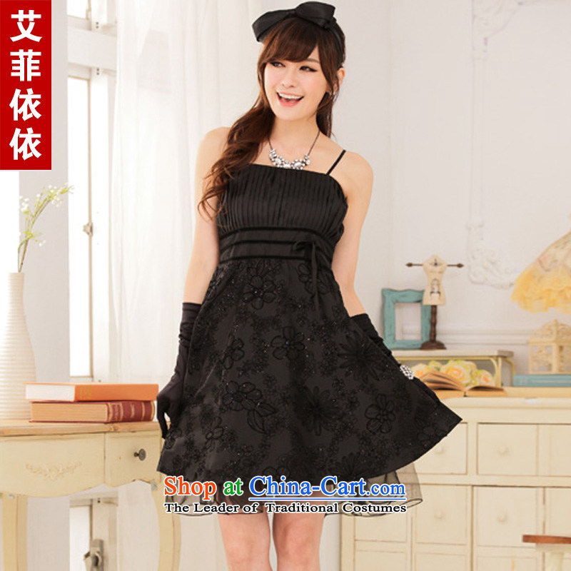 Large glued to the Eiffel flocking wrapped chest straps small Dress?Short of 2015 Korean banquet bridesmaid annual meeting of the chairpersons of nostalgia for the evening dress code are black 4750 Skirt