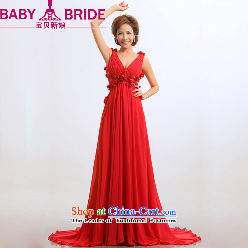 Baby bride bride stars bows new dresses marriage 2014 Red hotel is modern long evening dresses long?L