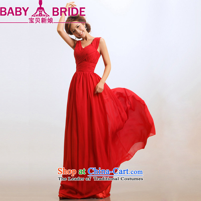 Baby bride wedding dresses new 2014 elegant dark V All-Star with red lifting strap bows bridal dresses RED�M