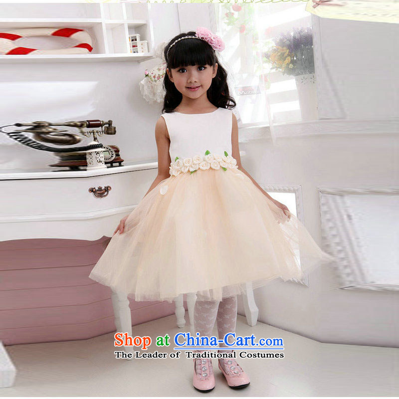 The population of children's wear under the 2014 Taiwan New Birthday skirt Flower Girls dress children wedding dresses show bon bon skirt XS2166 champagne color?4