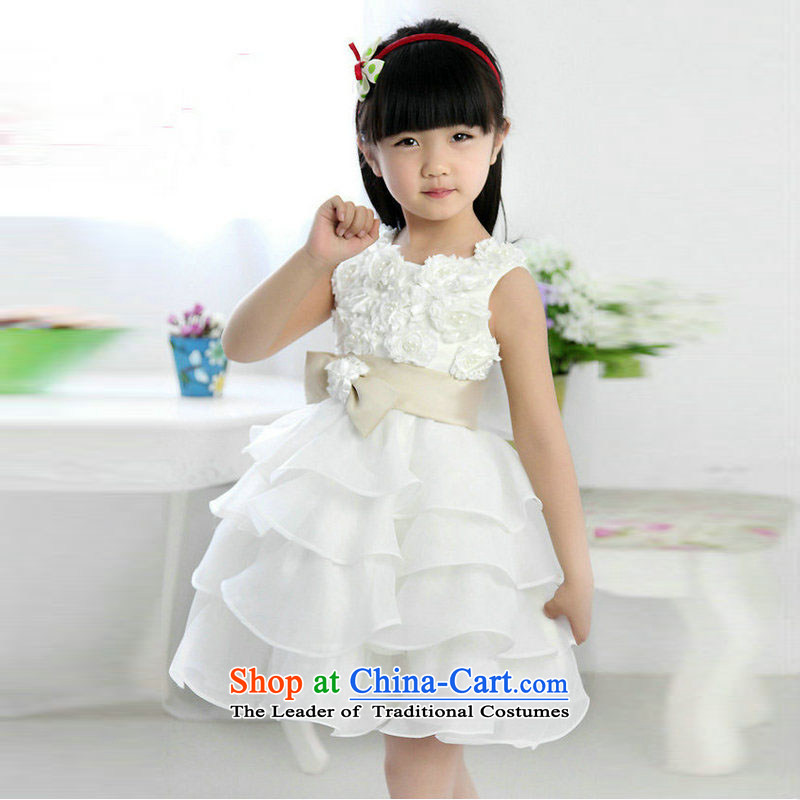 Taiwan's 2014 flower girl children's wear dresses bon bon skirt will show skirt children wedding dresses XS2165 White 8