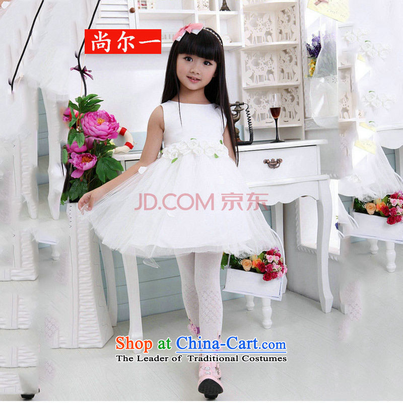 The population of Taiwan New 2014 children wedding dresses princess skirt Flower Girls dress girls bon bon skirt XS2164 white,?6 code