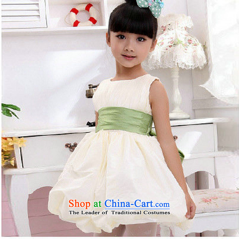The population of Taiwan New 2014 children wedding dresses flower girl children's wear girls will bon bon dress dresses XS2161 light champagne color?4