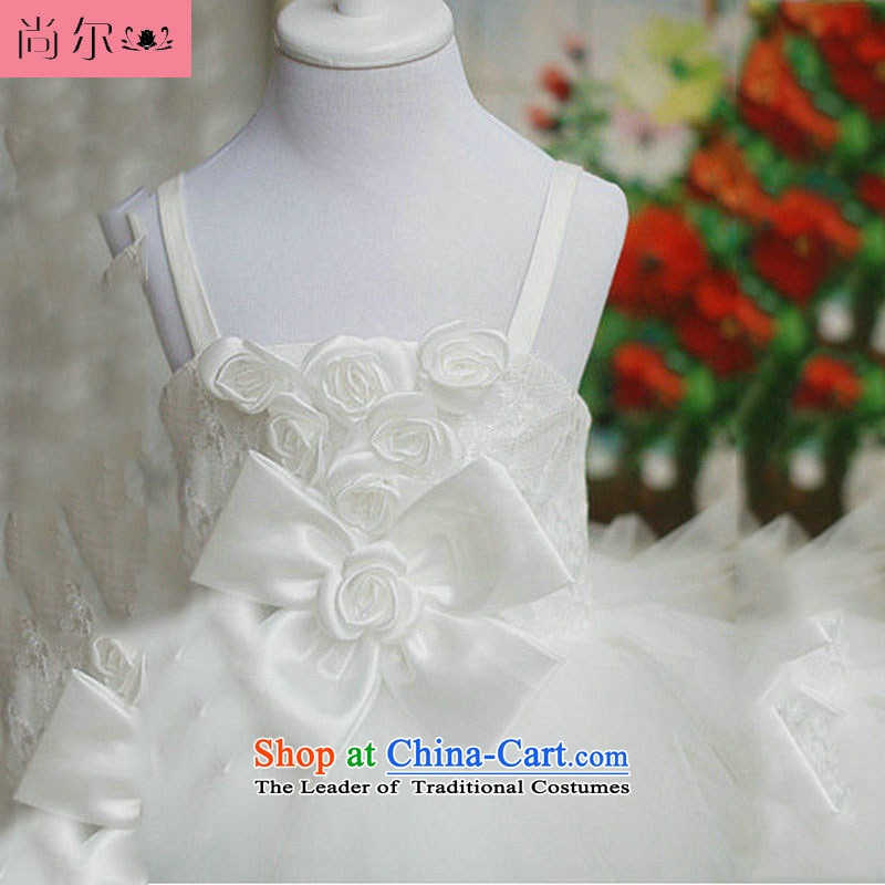 The population of Taiwan New 2013 children wedding dresses bon bon Kwan will children's wear dresses Flower Girls dress XS2160 White 8