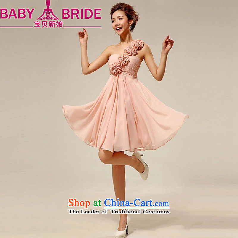 Baby bride wedding dresses new 2014 Korean shoulder stylish marriages small-dress short skirt as meat pink made does not return/size please leave a message