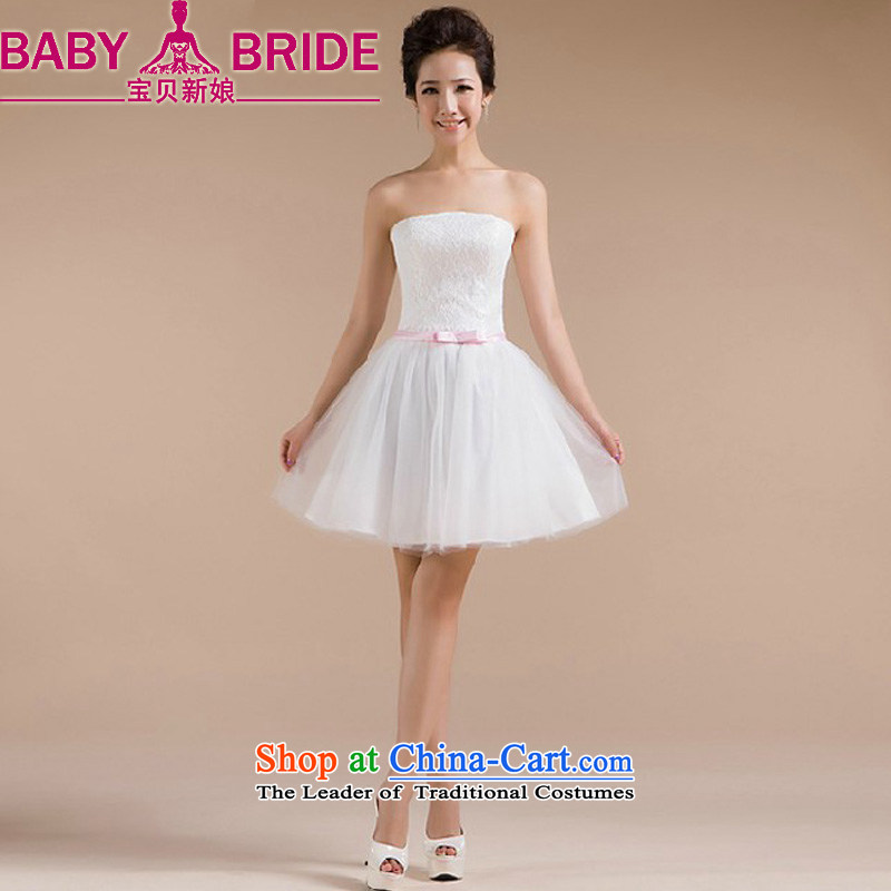 2014 new bride treasure bridesmaid Dress Short) Bride bows wedding dresses services small princess evening dress White?M