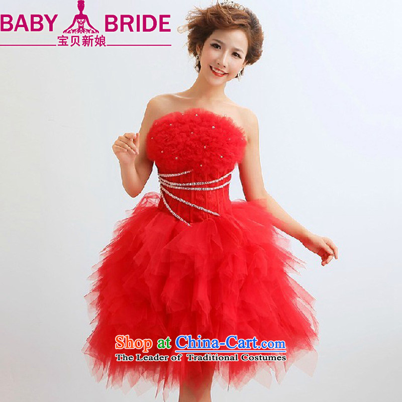 The 2014 new bride treasure stylish stars of the same will serve under the auspices of marriages wedding dress short skirt as red as do not return_size please leave a message