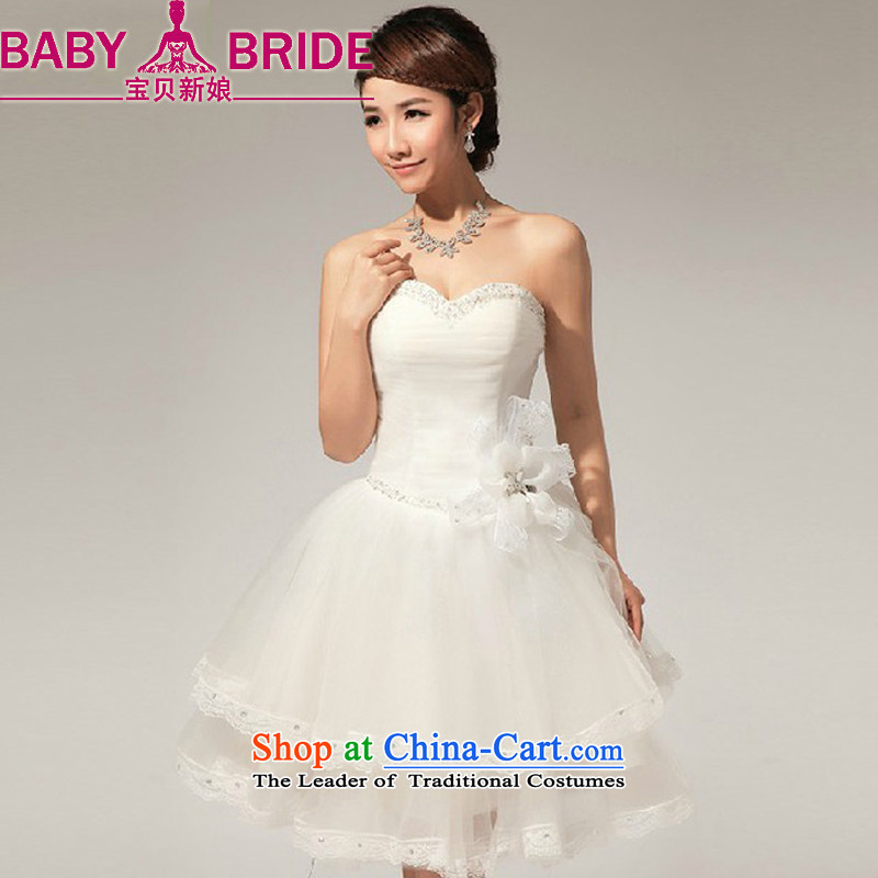 2013 Korean baby bride wedding dresses and chest V-Neck diamond manually lace bon bon small dress skirt m White�M