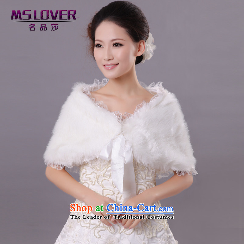 Wedding dress in spring and autumn mslover warm winter partner plush lace edge tether marriages shawl FW121112 gross rice white