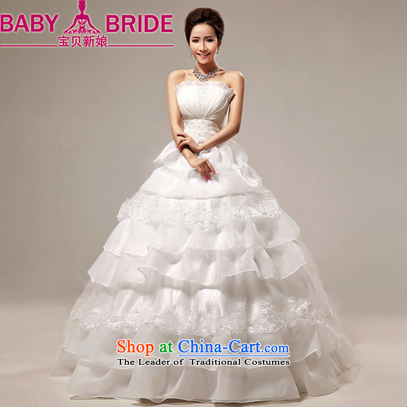 Baby bride wedding Korean version of the new 2014 anointed chest cake skirt marriages wedding dress photo building photography m White made does not return_size please leave a message