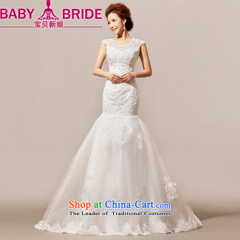 2014 new bride treasure angel lace on small trailing wedding dresses wedding dresses of the same drama female m White?L