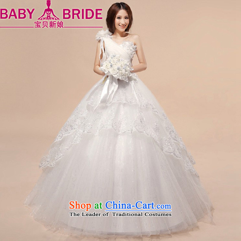 Baby bride wedding dresses�2014 new shoulder to align the wedding dress sweet princess bon bon skirt wedding White�M