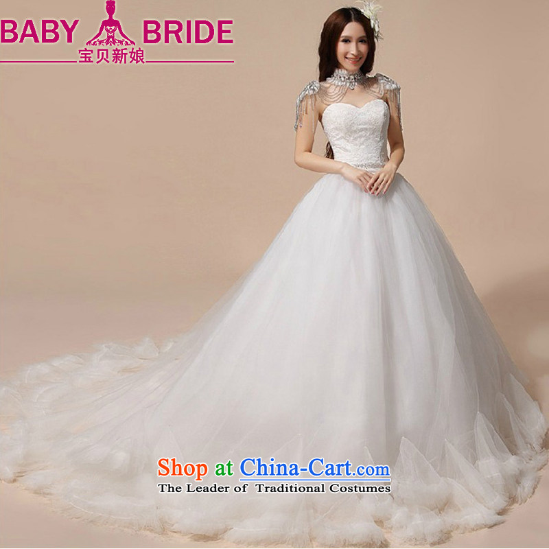 Baby bride wedding dresses 2014 new luxury Korean Princess Mary Magdalene Chest straps wedding white streak wedding white made no returns - The size of the message