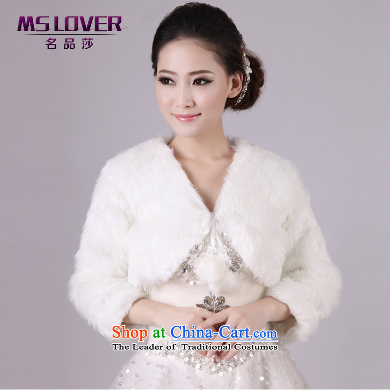 Mslover?wedding dresses warm winter partner plush without collars thick long-sleeved marriages gross shawl vest?FW131006?m White