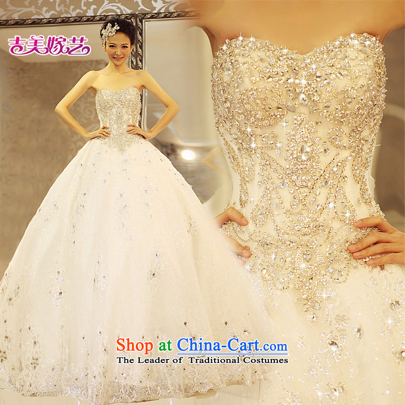 Pre-sale products in Beijing - wedding dresses Kyrgyz-american married new Korean arts 2015 edition anointed chest princess skirt water drilling tail HT7116 bride wedding in the upper part of the crystal drill under the resin drill - 1m tail?L