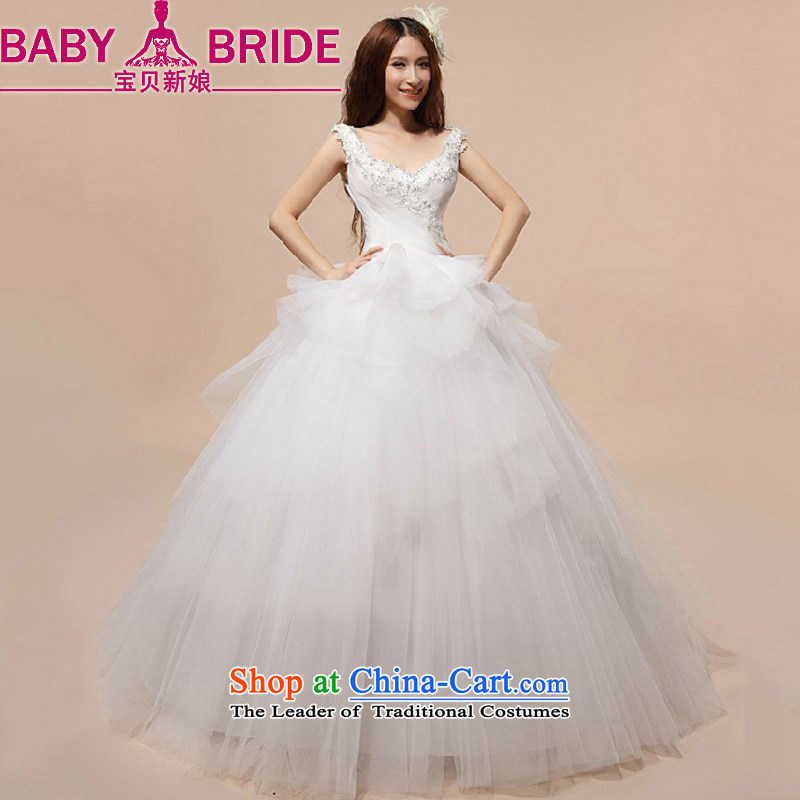Baby bride bride wedding dresses Korean skirt wedding parties princess deep V-Neck wedding new 2014 White?M