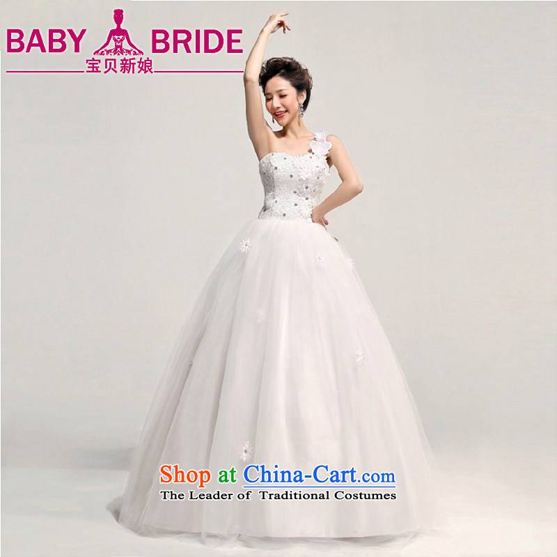 2013 new bride love Korean Princess Bride shoulder wedding dresses larger custom Korean pregnant women shoulder a made-to-Water White Flower Does Not Return - size please leave a message