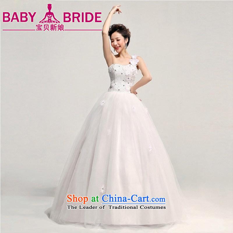 2013 new bride love Korean Princess Bride shoulder wedding dresses larger custom Korean pregnant women shoulder a made-to-Water White Flower Does Not Return - size please leave a message